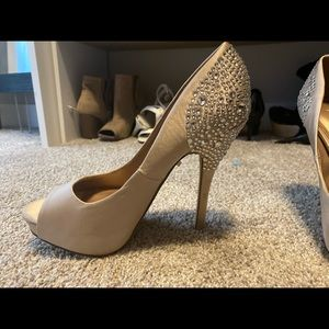 ALDO Durling Diamond Peep Toe Heels in Nude